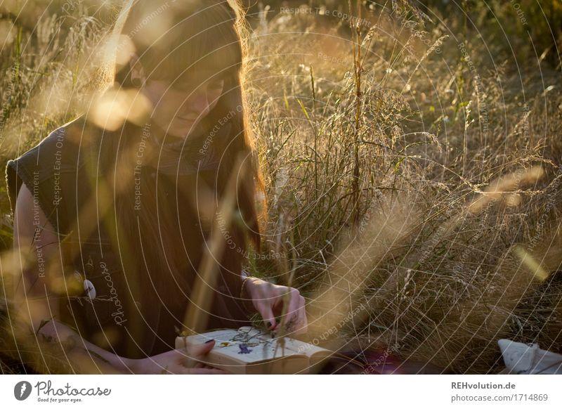 Carina | im Abendlicht Freizeit & Hobby Mensch feminin Junge Frau Jugendliche Erwachsene 1 18-30 Jahre Buch Umwelt Natur Landschaft Gras Wiese brünett