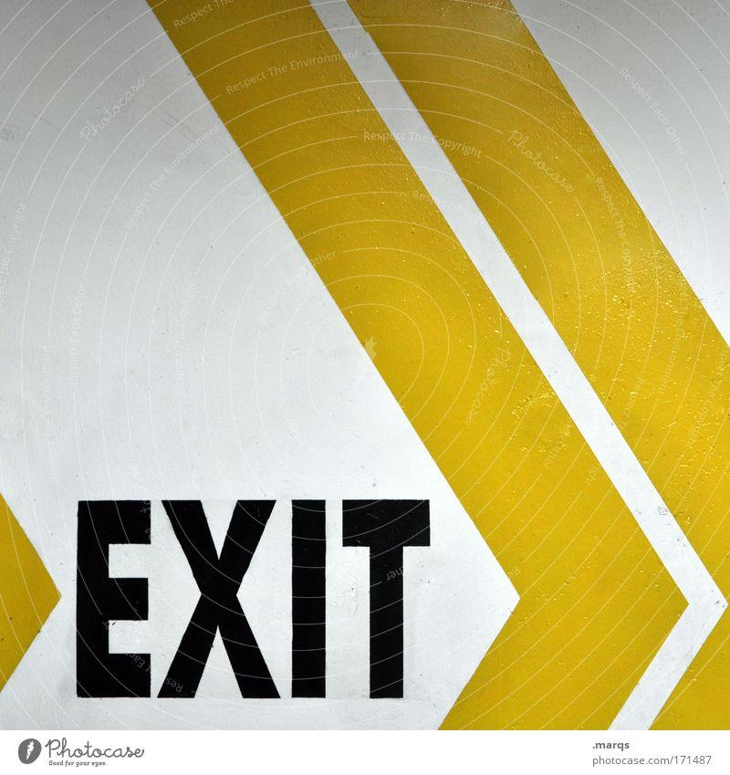Exit weiß gelb Linie Angst Design Schilder & Markierungen Schriftzeichen Streifen einzigartig Pfeil Wege & Pfade Hinweisschild Grafik u. Illustration Todesangst Ausgang Ausfahrt