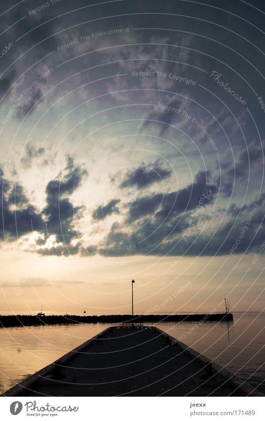 Laterna Magica Wasser Meer Sommer Ferien & Urlaub & Reisen ruhig Wolken Wege & Pfade See Zufriedenheit Kraft Küste Horizont Perspektive Hoffnung Zukunft Romantik