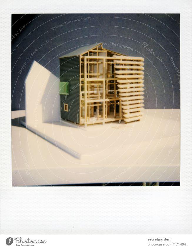 architekturstudentin, 1. semester Haus Holz grau Architektur Stil Kunst elegant modern Häusliches Leben einzigartig Student Gebäude Konstruktion Polaroid bauen