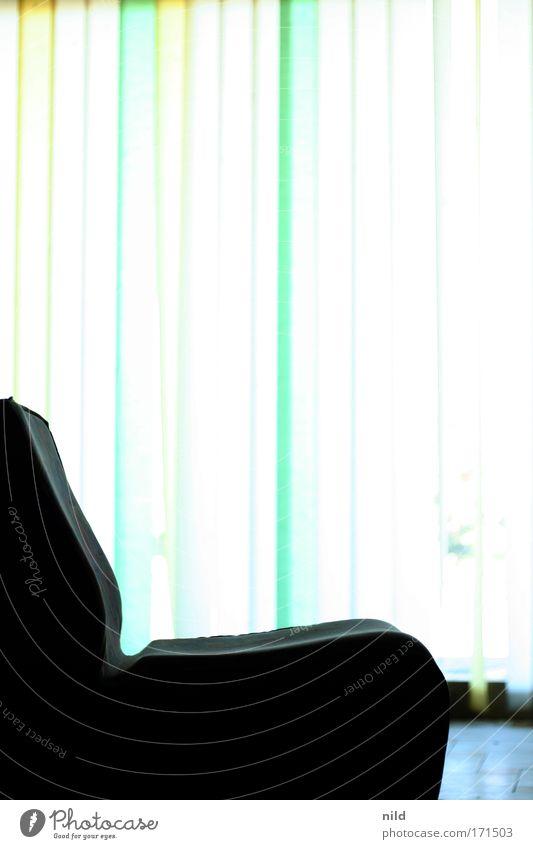 im Foyer blau ruhig Fenster Pause Vorhang Sitzgelegenheit Sessel ausschalten Fensterfront