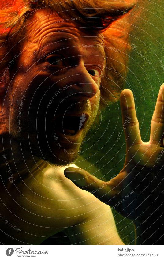 wer braucht schon worte? Farbfoto Detailaufnahme Abend Dämmerung Kunstlicht Blick in die Kamera Schwimmen & Baden Mensch maskulin Mann Erwachsene Leben Kopf