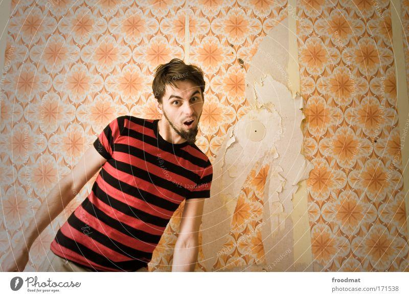 was? Mensch Mann Jugendliche Freude Erwachsene Stil maskulin retro Kommunizieren verfallen 18-30 Jahre Tapete Stress bizarr Zerstörung frech