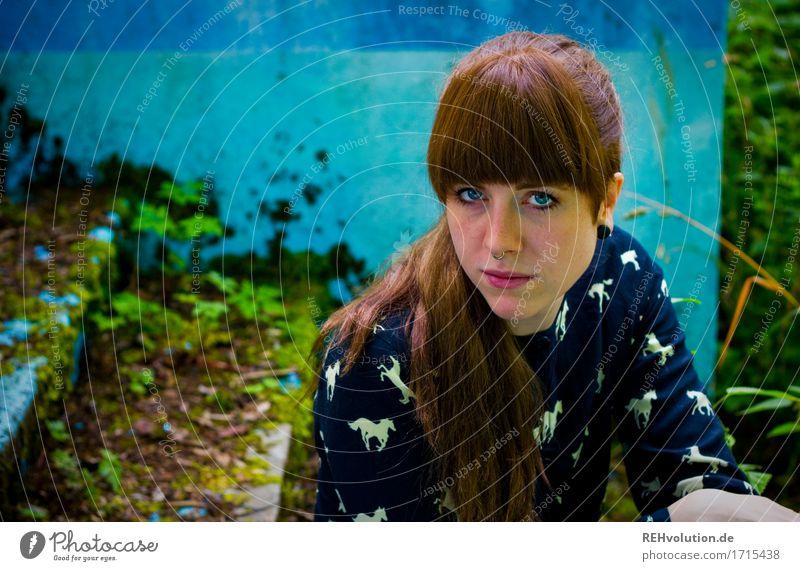Carina | Poolblau Stil Design schön Gesicht Mensch feminin Junge Frau Jugendliche Erwachsene 1 18-30 Jahre Umwelt Natur Landschaft Pflanze Moos Haare & Frisuren