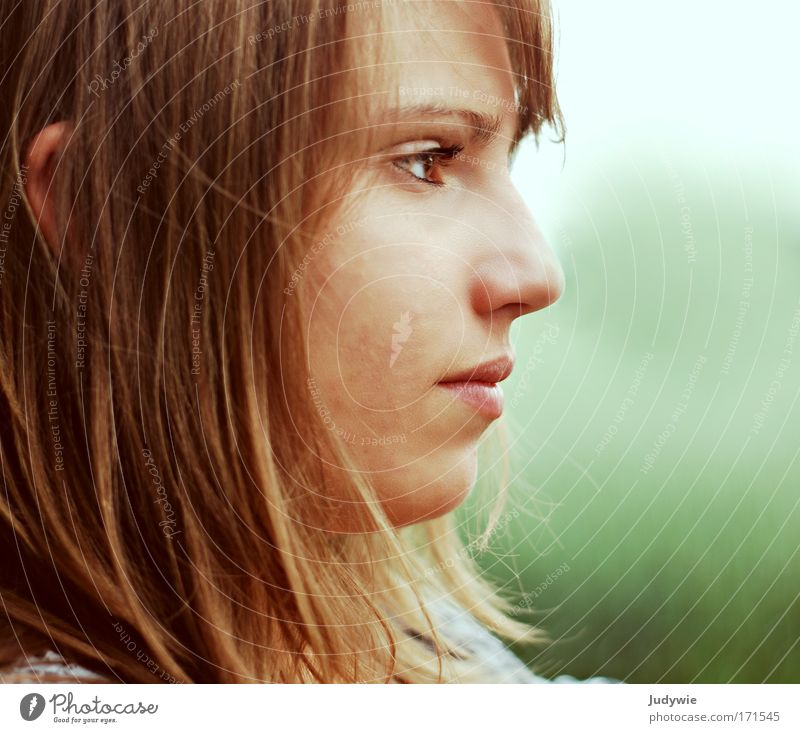Stille Erwartung Mensch Natur Jugendliche schön grün Sommer Gesicht ruhig Wiese Gefühle Frühling Kopf Kraft warten Umwelt
