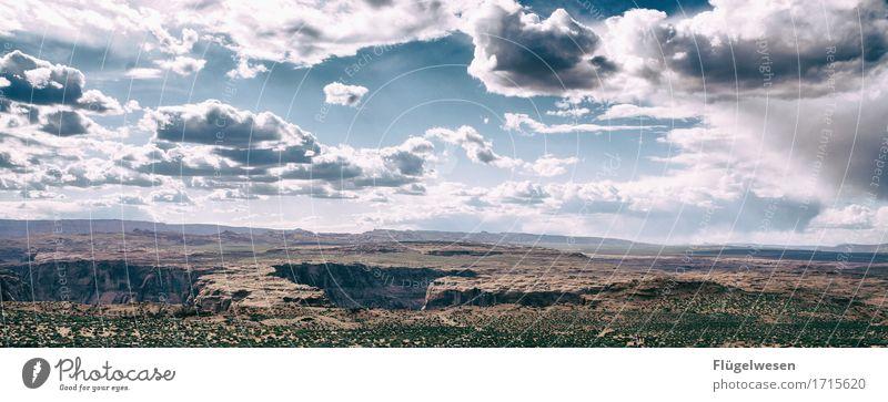 Beautiful Amerika (m) Himmel Wolken Tag Schatten Berge u. Gebirge Grand Canyon USA Landschaft Pflanze Tier Aussicht Ferne Menschenleer Sträucher Vulkankrater
