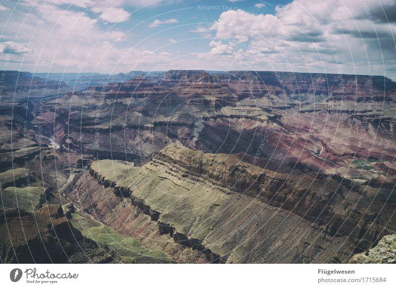 Beautiful Amerika (p) Himmel Wolken Tag Schatten Berge u. Gebirge Grand Canyon USA Landschaft Pflanze Tier Aussicht Ferne Menschenleer Sträucher Vulkankrater
