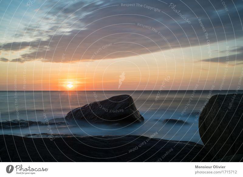 Urlaubsstimmung Umwelt Natur Landschaft Himmel Horizont Sonne Sonnenaufgang Sonnenuntergang Fernweh Kanada Küste Meer Wellen Felsen Wolken Wanderlust