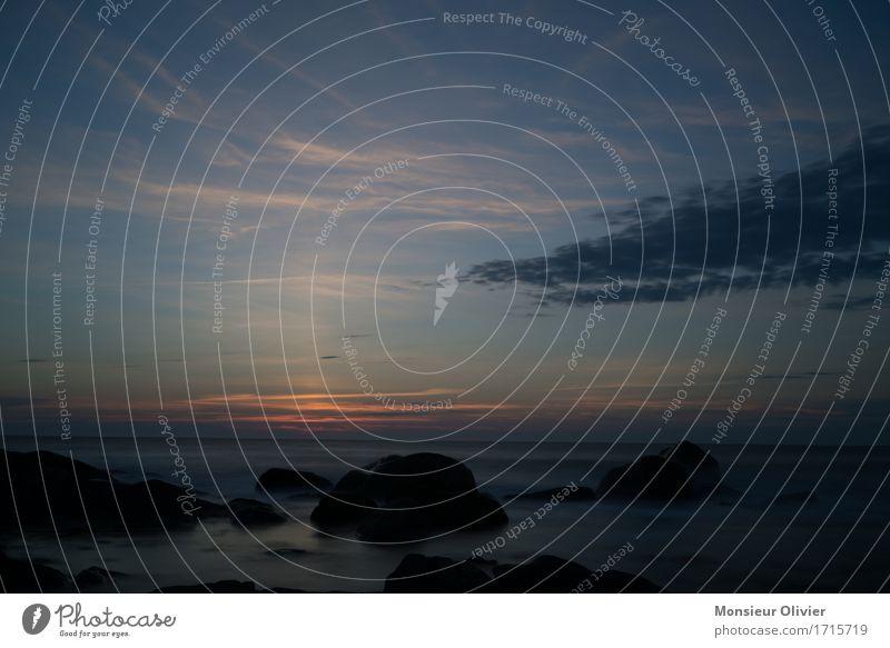 Sonnenuntergang am Meer Landschaft Himmel Wolken Horizont Sonnenaufgang natürlich blau Kanada Küste Felsen Brandung Wellen Wasser Farbfoto Gedeckte Farben