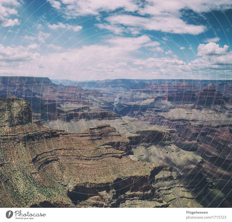 Beautiful Amerika (r) Himmel Wolken Tag Schatten Berge u. Gebirge Grand Canyon USA Landschaft Pflanze Tier Aussicht Ferne Menschenleer Sträucher Vulkankrater