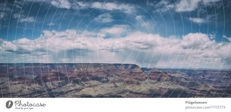 Beautiful Amerika (f) Himmel Wolken Tag Schatten Berge u. Gebirge Grand Canyon USA Landschaft Pflanze Tier Aussicht Ferne Menschenleer Sträucher Vulkankrater