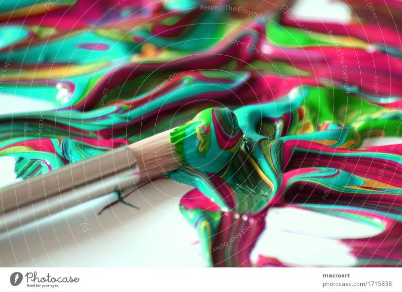 Kunst malen Pinsel Acrylfarbe Farbe mischen Mischung mehrfarbig Nahaufnahme Detailaufnahme