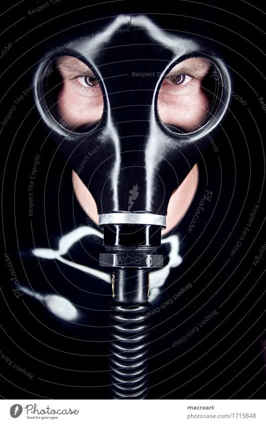 Maske Atemschutzmaske Fetischismus Latex Gummi Auge Schlauch glänzend Gas Anschluss dunkel Gesicht