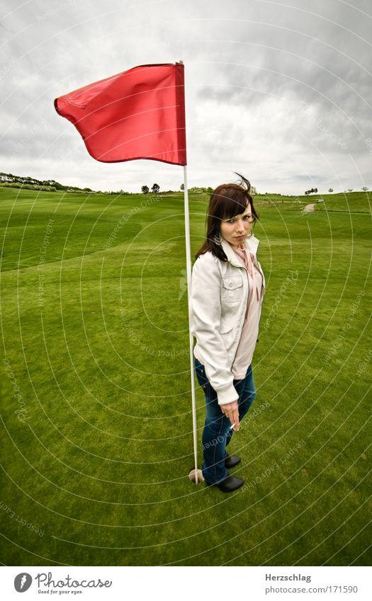 Rot sehen! grün rot kalt feminin klein Kraft authentisch Coolness Rauchen Fahne Unendlichkeit stark Wut Mut Golf bizarr