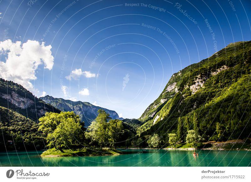 Insel im Lago di Tenno in Italien Natur Ferien & Urlaub & Reisen Pflanze Sommer Baum Landschaft Tier Freude Ferne Berge u. Gebirge Umwelt Glück Freiheit See