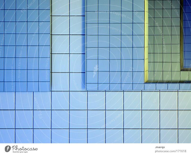 Spieglein Farbfoto Innenaufnahme abstrakt Muster Strukturen & Formen Reflexion & Spiegelung Stil Design Bad Linie außergewöhnlich eckig einfach Sauberkeit blau