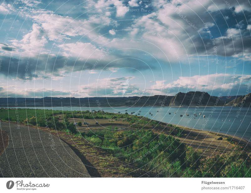 Beautiful Amerika (l) Himmel Ferien & Urlaub & Reisen Pflanze Landschaft Wolken Tier Ferne Berge u. Gebirge Freiheit Sträucher Aussicht USA Fluss Hügel Wüste