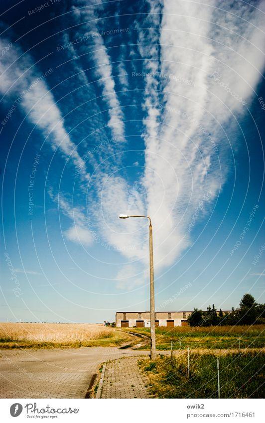 Vor der Stadt Umwelt Natur Landschaft Himmel Wolken Horizont Klima Schönes Wetter Baum Sträucher Feld Dorf Stadtrand Ruine Gebäude Straße Wege & Pfade groß