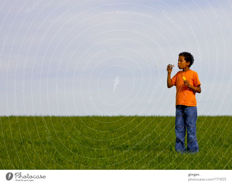 Seifenblasen über Land Mensch Kind Himmel Natur Jugendliche grün Sommer Wiese Landschaft Junge Gras Stimmung orange Kindheit Horizont Freizeit & Hobby
