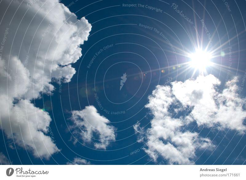 Sonnenschein Himmel weiß Sonne blau Sommer Ferien & Urlaub & Reisen Wolken Sonnenstrahlen Gefühle Wärme Luft Stimmung Wetter Umwelt Erfolg frei