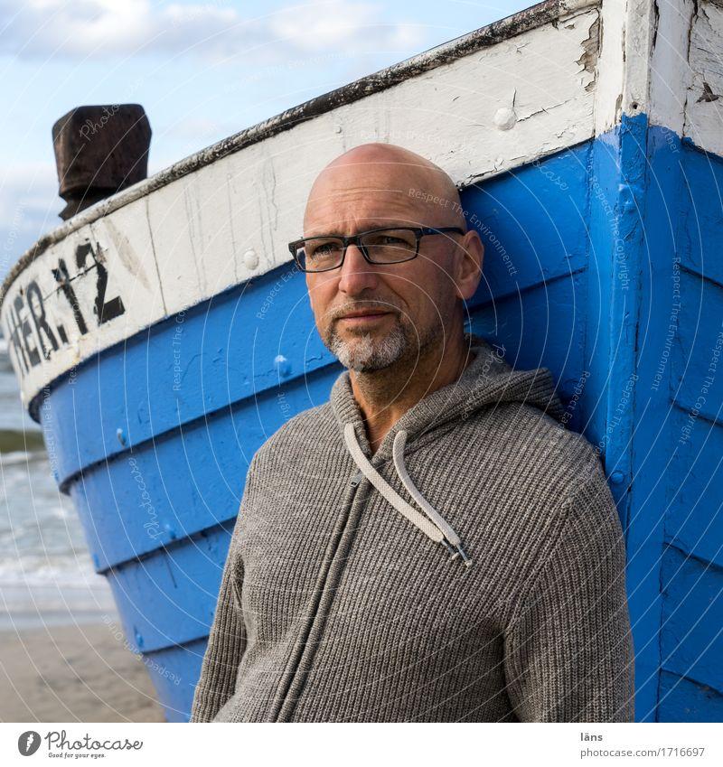 Standpunkt Mensch Ferien & Urlaub & Reisen Mann Sommer Meer Erholung Strand Erwachsene Leben Küste Tourismus maskulin Zufriedenheit Ausflug stehen 45-60 Jahre
