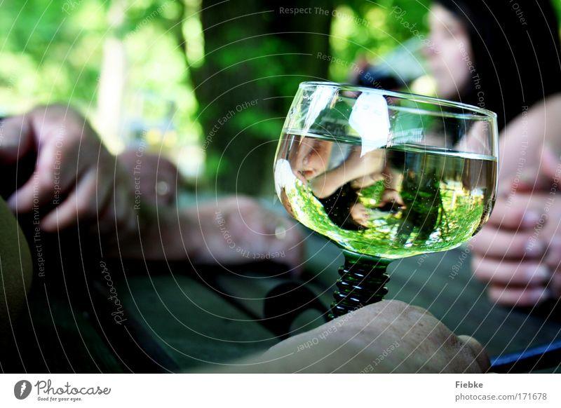Ein Sommertag Farbfoto Außenaufnahme Detailaufnahme Tag Reflexion & Spiegelung Unschärfe Getränk trinken Erfrischungsgetränk Alkohol Wein Glas Ausflug
