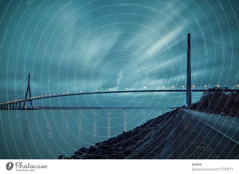 Cross over Himmel Wolken schlechtes Wetter Brücke Bauwerk Architektur Straße Straßenkreuzung gigantisch blau orange schwarz Partnerschaft innovativ Stadt