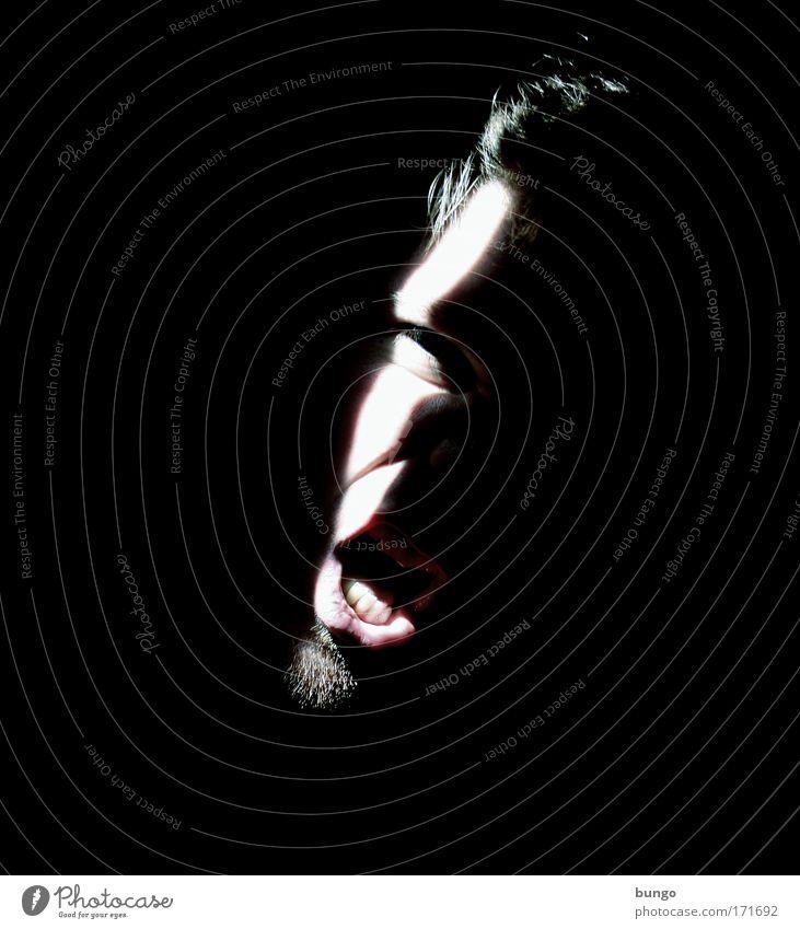 lux improbum aperit Mensch Mann Gesicht Kopf Mund Angst Erwachsene maskulin Nase verrückt Zähne Ohr Lippen bedrohlich Wut gruselig