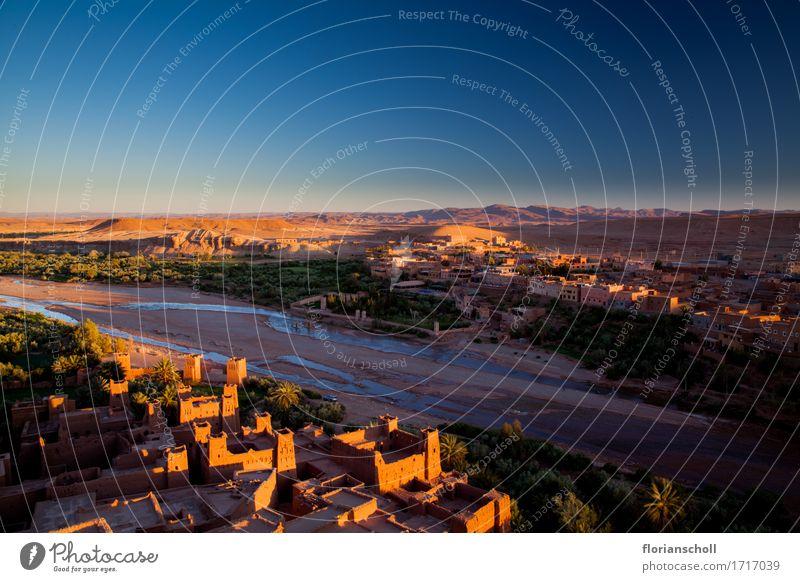 Sunset in Ouarzazate Ferien & Urlaub & Reisen Sommer Sand trocken blau gelb grün ruhig Freizeit & Hobby Natur Tourismus blue buildings colorful desert dry hot