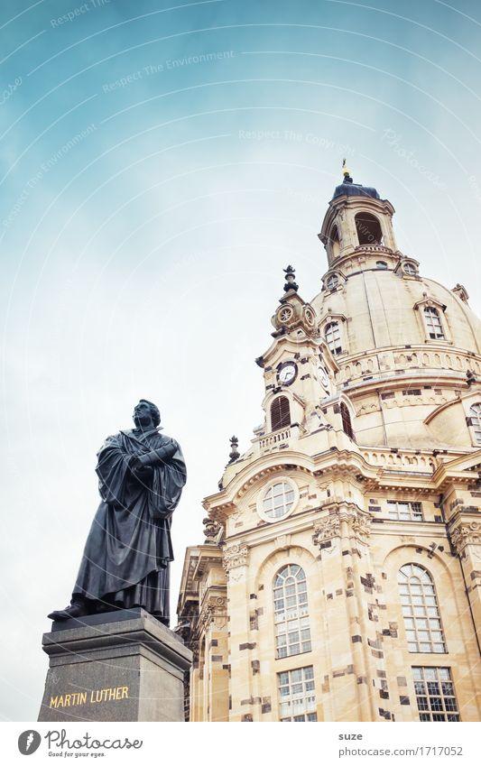 Reformator Himmel Stadt Architektur Religion & Glaube Deutschland Tourismus stehen Platz Kultur Zeichen historisch Vergangenheit Sehenswürdigkeit Wahrzeichen