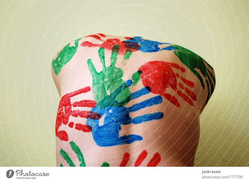 Rückhand Mensch Mann nackt Hand Erwachsene außergewöhnlich Kraft Perspektive Rücken Kreativität berühren Zeichen Grafik u. Illustration Schutz dünn Körperpflege