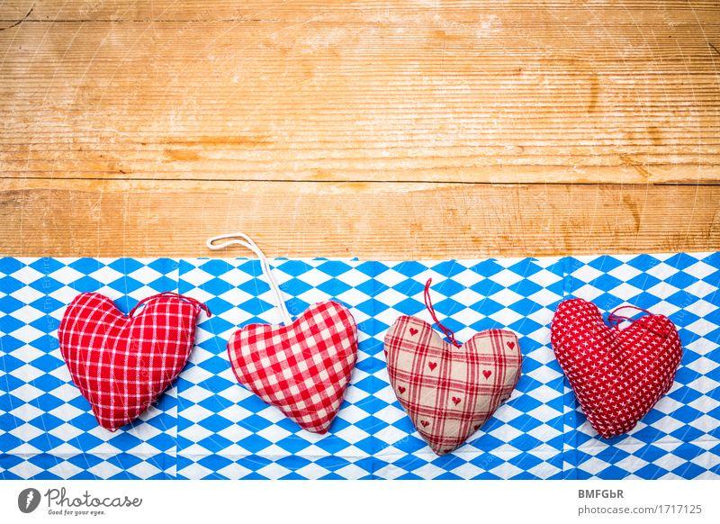 Herz für Bayern alt blau schön weiß rot Essen Hintergrundbild Holz klein Feste & Feiern Party Deutschland Design Textfreiraum Schilder & Markierungen Fröhlichkeit