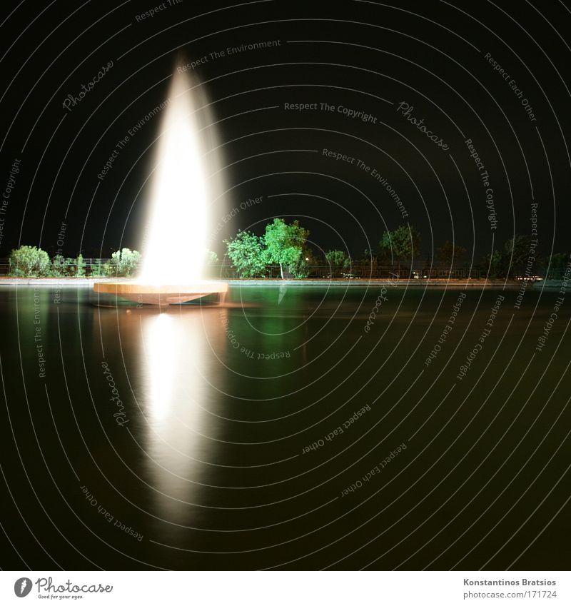 Lichtquelle Wasser schön weiß Baum grün Pflanze schwarz dunkel Bewegung Park hell Stimmung elegant nass Romantik Kitsch