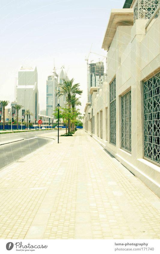 Sunshine Boulevard Farbfoto Außenaufnahme Menschenleer Textfreiraum unten Tag Licht Sonnenlicht Zentralperspektive exotisch Palme Dubai Stadtzentrum