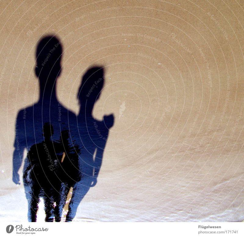 Das Schattenpaar Wasser schön Sommer Strand Liebe Sand Küste Freundschaft Zusammensein Hoffnung niedlich Romantik Kommunizieren beobachten Freundlichkeit Seeufer