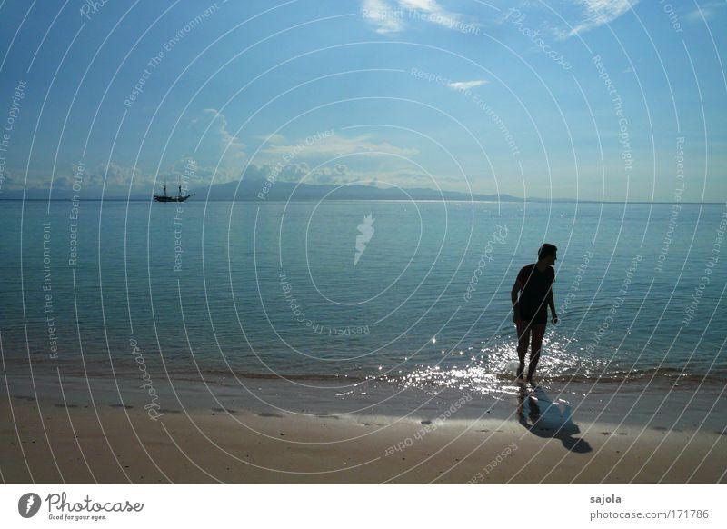 CC - am einsamen strand Mensch Himmel Mann blau Wasser Ferien & Urlaub & Reisen Sommer Meer Strand Wolken Erwachsene Bewegung Freiheit Küste Sand Luft