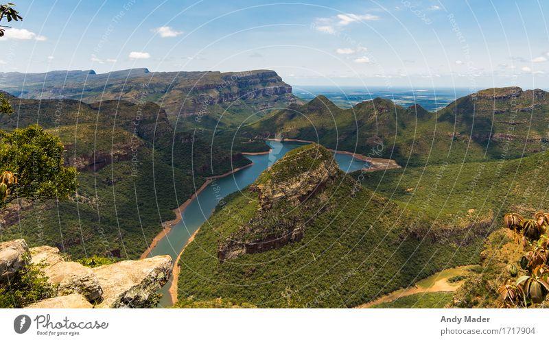 Blyde River Canyon Natur Landschaft Pflanze Wasser Himmel Horizont Sommer Schönes Wetter Hügel Felsen Schlucht genießen Ferien & Urlaub & Reisen Blick