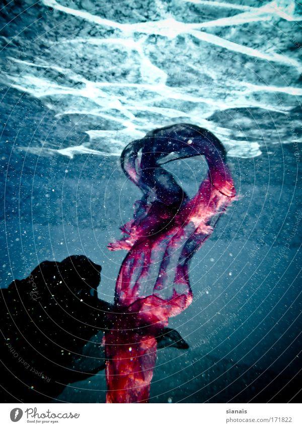 ? blau Wasser Sommer träumen Schwimmen & Baden nass Romantik weich Stoff Schwimmbad tauchen türkis Surrealismus beweglich fließen Schal