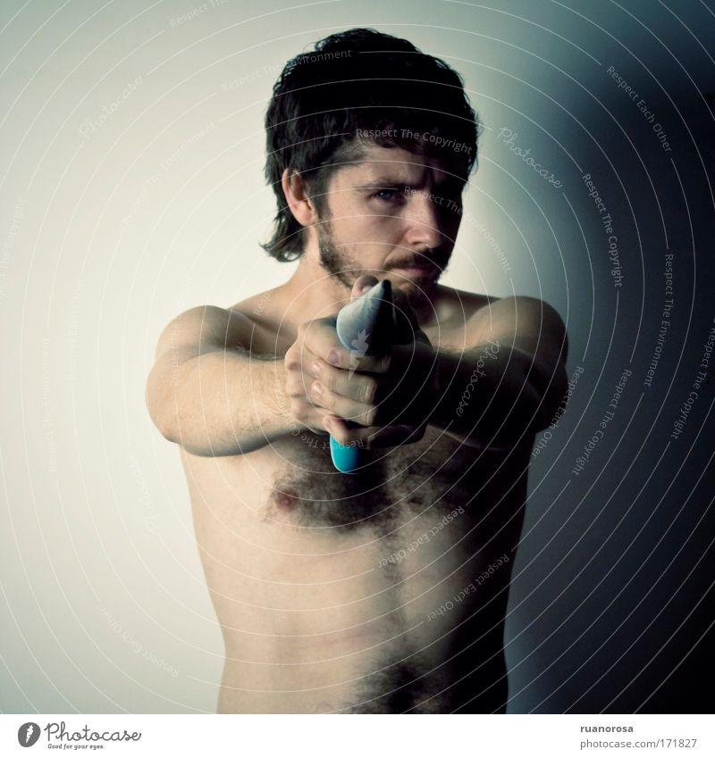 Mensch Jugendliche Erwachsene Körper Haut maskulin stehen Macht Jagd Mut Tatkraft 30-45 Jahre Tapferkeit