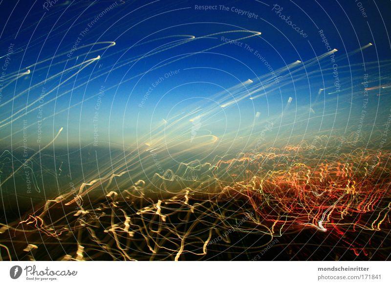 Lichtgewitter Himmel Hintergrundbild Leuchtspur Langzeitbelichtung Lichtmalerei