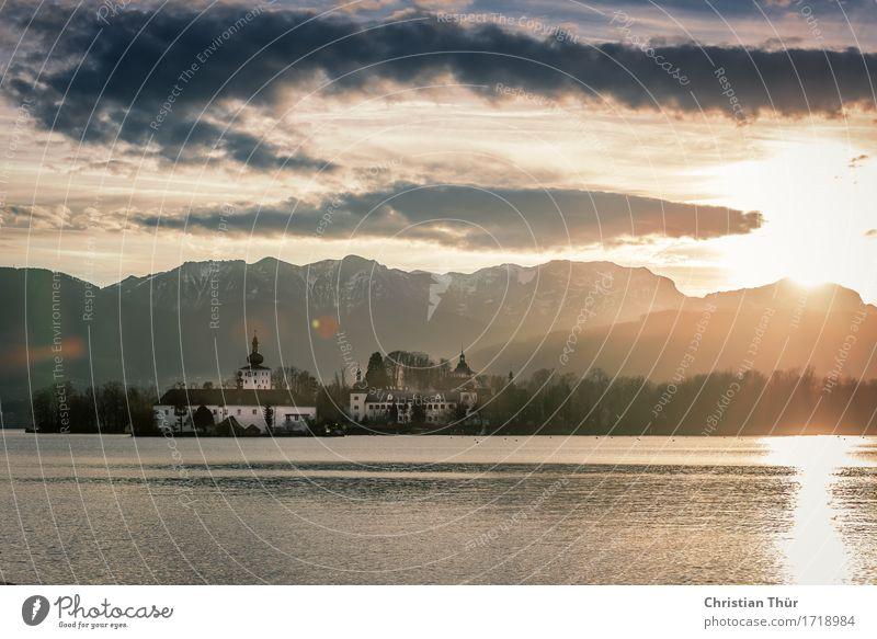 Gmunden Himmel Natur Ferien & Urlaub & Reisen Wasser Landschaft Erholung ruhig Winter Berge u. Gebirge Gefühle Küste Freiheit See Tourismus Zufriedenheit