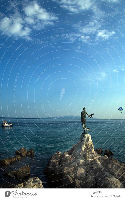 Kvarner Bucht Himmel blau Ferien & Urlaub & Reisen Meer Sommer Wolken Ferne Küste groß Insel Europa Bauwerk Schönes Wetter Bucht Schifffahrt Fernweh