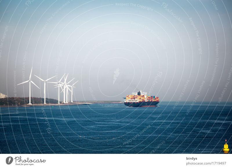 Güterverkehr am Hoek van Holland Wirtschaft Handel Dienstleistungsgewerbe Energiewirtschaft Erneuerbare Energie Windkraftanlage Wasser Himmel Horizont Nordsee