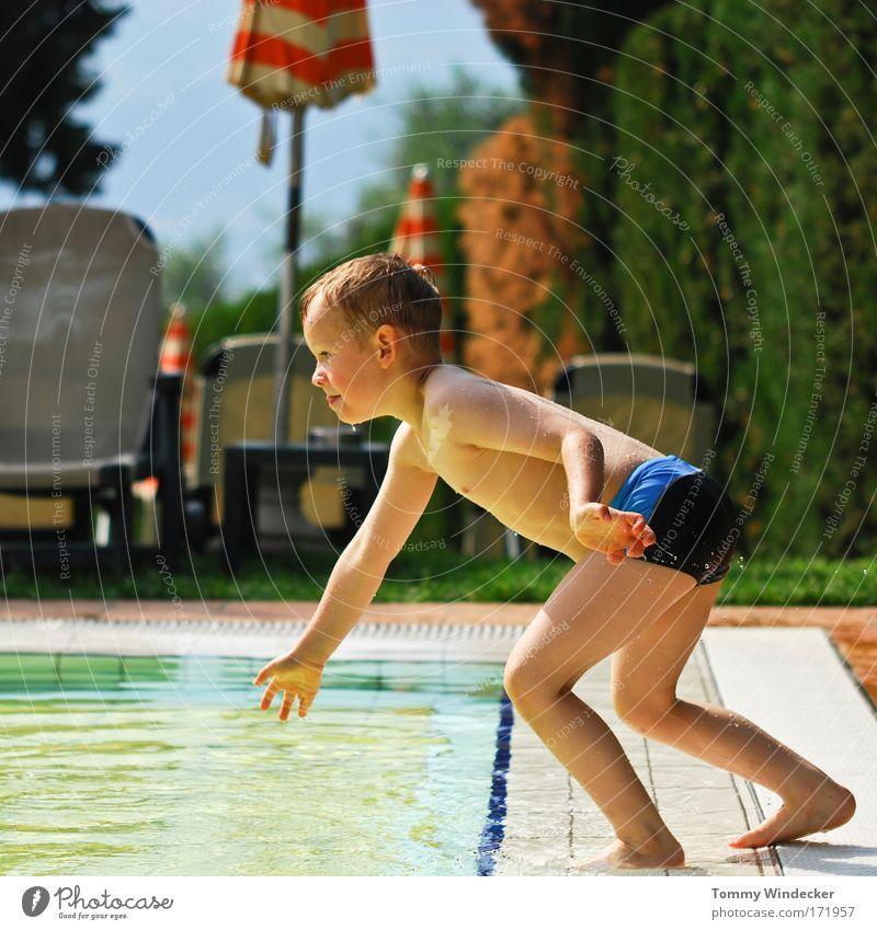 Springer Kind Ferien & Urlaub & Reisen Sonne Sommer Freude Spielen Junge springen Freizeit & Hobby Schwimmen & Baden Fröhlichkeit Schwimmbad sportlich