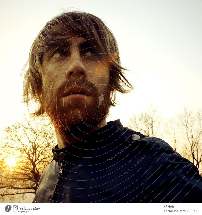 winter. Haare & Frisuren Mensch maskulin Junger Mann Jugendliche Erwachsene Kopf Bart 1 18-30 Jahre Natur Sonne Sonnenaufgang Sonnenuntergang Sonnenlicht