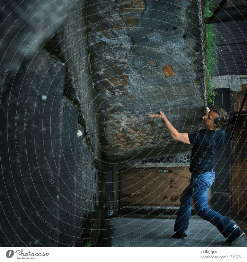 you keep me hanging on Mensch Mann Haus Erwachsene Wand Bewegung Kopf Mauer Beine Tür Kraft Fassade Arme Treppe maskulin T-Shirt