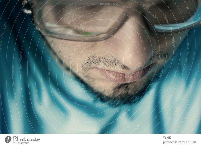 nerdy look Mensch Mann Jugendliche Gesicht ruhig Gefühle träumen Kopf Traurigkeit Mund Stimmung Erwachsene maskulin Nase Hoffnung Brille