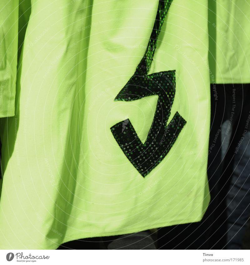 Blitz grün Elektrizität Stoff Pfeil Zeichen Blitze Hemd Gewitter Mantel Kostüm Umhang grell Zickzack Aufdruck giftgrün