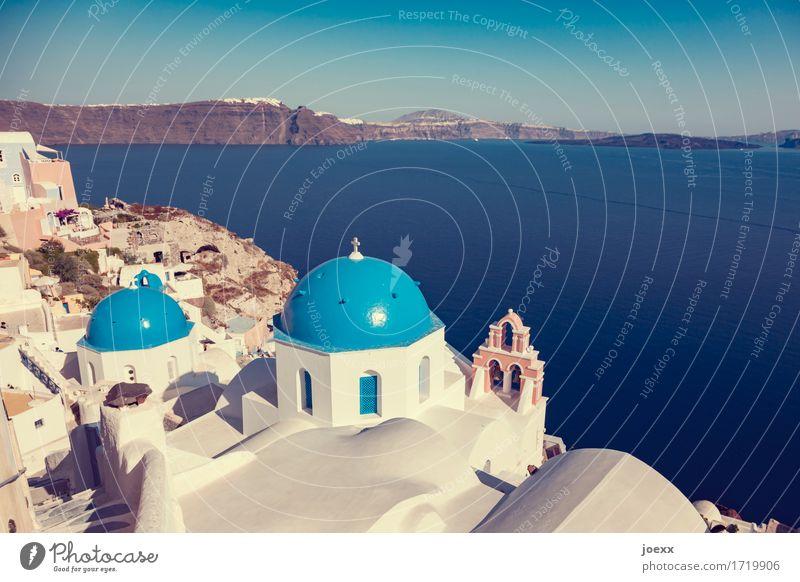 Blau-Weiß Ferien & Urlaub & Reisen blau Sommer schön weiß Meer Haus Wand Mauer braun Tourismus Horizont Idylle Insel Sehenswürdigkeit Hauptstadt