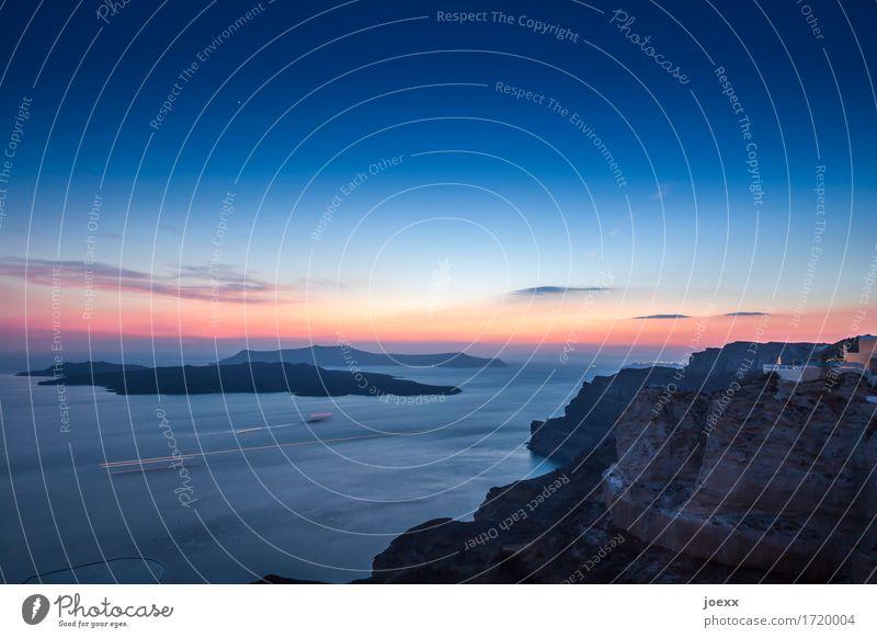 Santa Irene Ferien & Urlaub & Reisen Meer Insel Himmel Horizont Sonnenaufgang Sonnenuntergang Sommer Schönes Wetter Santorin groß maritim schön blau braun